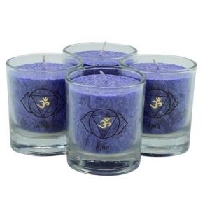 chakra-kerze ca 6 cm 4er-set blau indigo palm light palmlicht bei Lichtquelle online kaufen