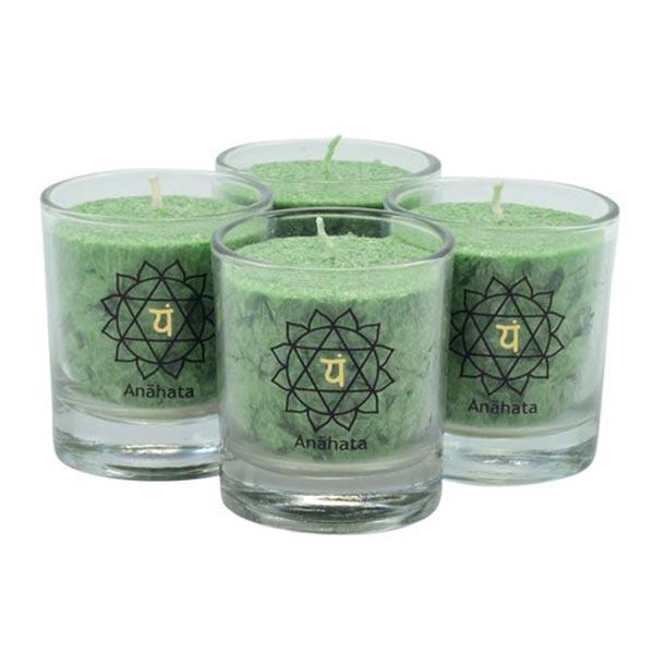 chakra-kerze ca 6 cm 4er-set grün palm light palmlicht bei Lichtquelle online kaufen