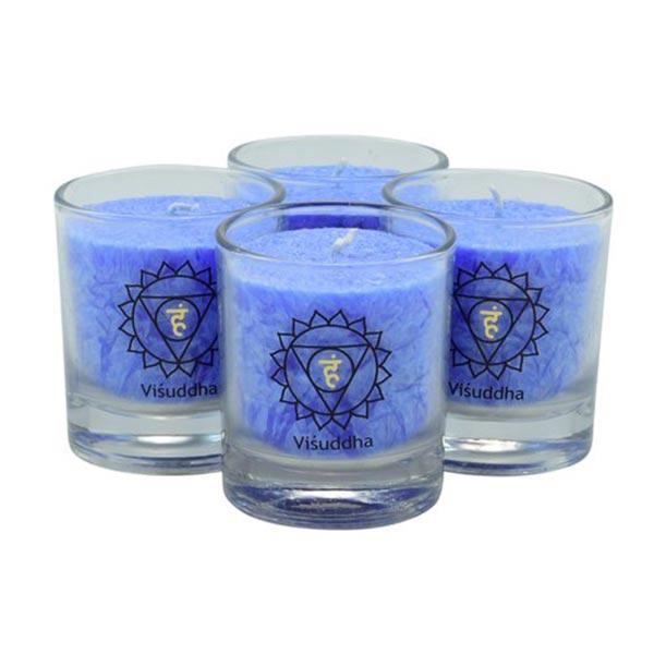 chakra-kerze ca 6 cm 4er-set hellblau palm light palmlicht bei Lichtquelle online kaufen