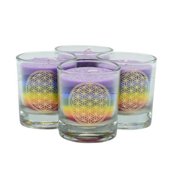 chakra-kerze ca 6 cm 4er-set multicolor palm light palmlicht bei Lichtquelle online kaufen