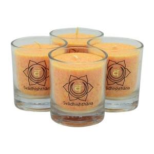 palmlicht chakra-kerze ca 6 cm 4er-set orange palm light palmlicht bei Lichtquelle online kaufen