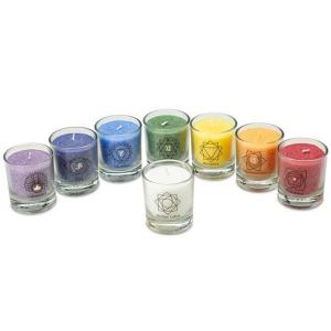 chakra-kerze ca 6 cm mix karton 8 stück farben palm light palmlicht bei Lichtquelle online kaufen